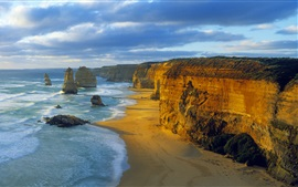 Preview wallpaper Twelve Apostles, Port Campbell National Park, Victoria, Australia, sea, clouds