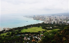 США, Оаху, Diamond Head, побережье, город