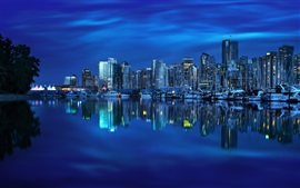 Preview wallpaper Vancouver, British Columbia, Canada, yacht, bay, reflection, buildings, city night