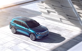 Preview wallpaper Volkswagen T-Prime GTE concept blue SUV top view