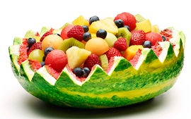 Preview wallpaper Watermelon basket, berries, strawberries, kiwi, fruit dessert