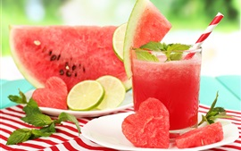 Preview wallpaper Watermelon, slices, juice, love hearts, summer drinks