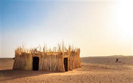 Preview wallpaper Western Sahara Desert, Morocco, desert, reeds hut, sun, hot