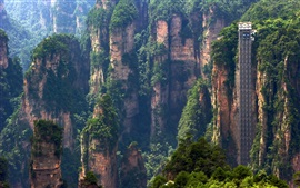 Preview wallpaper Zhangjiajie nature landscape, China, cliffs, mountains, sightseeing elevator