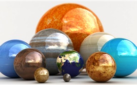 3D balls, planets, earth, colorful