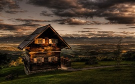 Alps, summer, mountains, chalets, dusk, clouds