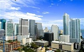 cidade americana, Miami, Florida, edifícios, casas