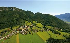 壁紙のプレビュー アマガウアルプス、Alpenwelt Karwendel、バイエルン、ドイツ、町、木