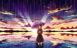 Preview wallpaper Anime girl in rain, umbrella, water, clouds, sunset