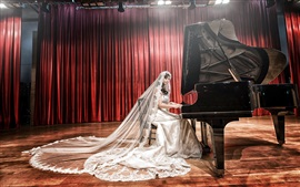 Asian girl, bride, white dress, piano, music