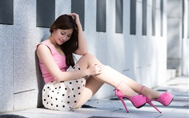 Preview wallpaper Asian girl sit at floor, skirt, legs, heels, summer