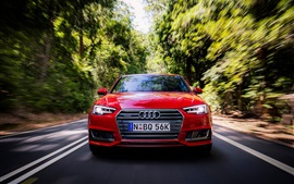 Preview wallpaper Audi A4 Sedan front view, red, speed