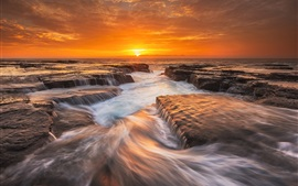 Preview wallpaper Australia nature landscape, sea, morning, rocks, sunrise