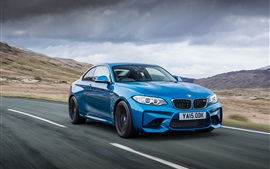 BMW M2 Coupe F87 blue car speed