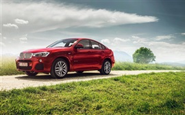 Preview wallpaper BMW X4 xDrive35i F26 red SUV car side view