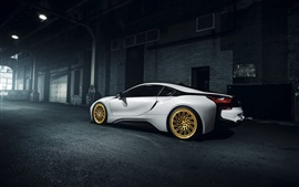 Preview wallpaper BMW i8 Vossen white supercar at the night