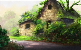 Beautiful art painting, house, trees, path, green plants