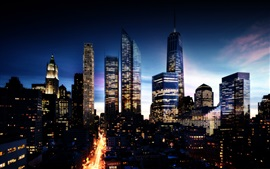 Preview wallpaper Beautiful city night view, skyscrapers, lights, New York, USA
