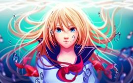 Aperçu fond d'écran Blonde les cheveux anime girl, bulles, eau, poisson