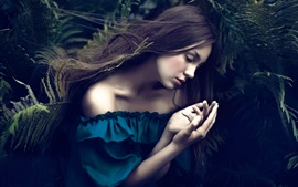 Preview wallpaper Blue dress girl sleep, ferns, bokeh