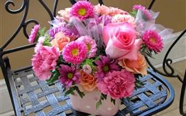 Букет, розовые цветы, розы, ромашки, пиона