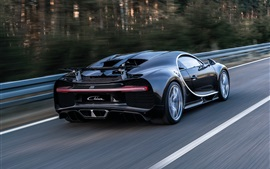 Preview wallpaper Bugatti Chiron black supercar back view