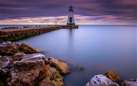 Preview wallpaper Canada, lake Ontario, Port Dalhousie, lighthouse, dawn