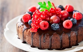 Preview wallpaper Chocolate cake, raspberry, blueberries, berries, delicious food