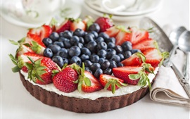 Preview wallpaper Chocolate cake, strawberries, blueberries, food