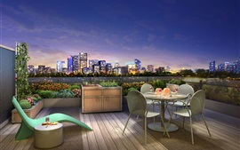 Preview wallpaper City night, terrace, lights, dinner, wine, 3D design