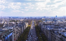 Preview wallpaper City view of Paris in France, houses, buildings, road, traffic, clouds