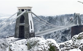 Clifton Suspension Bridge, Bristol, England, winter, snow