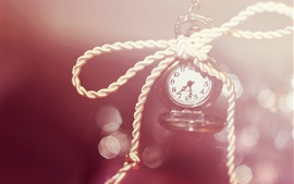 Clock, watch, numerals, rope, bokeh