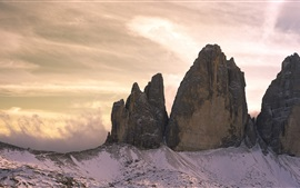 Nuvens, montanhas, crepúsculo, Dolomites, Itália