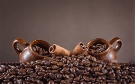 Coffee beans, cups, cinnamon