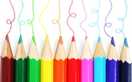 Preview wallpaper Colorful pencils, different colors, white background