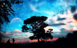 Come with me, lovers, beautiful fantasy world, trees, planet, clouds