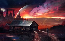 Preview wallpaper Creative art pictures, planet, sunset, house, road, girl, bike