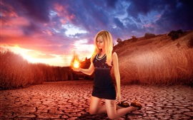 Preview wallpaper Creative picture, blonde girl, fire in her hand palm, grass, dusk