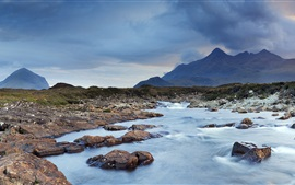 Cuillin, Isle of Skye, Scotland, UK, water, clouds, mountains