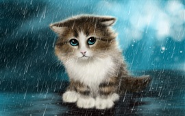 Preview wallpaper Cute innocent cat in the rain, art drawings