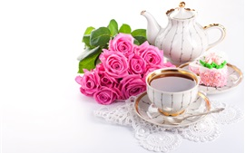 Preview wallpaper Drinks, tea, pink rose flowers, cake