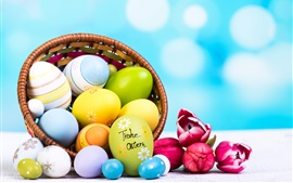 Easter eggs, tulips, flowers, basket, bokeh