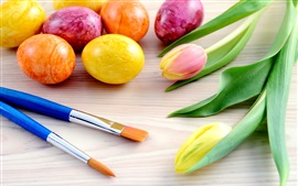 Preview wallpaper Easter holiday, brushes, colored eggs, tulip flowers