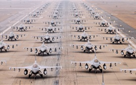 Preview wallpaper F-16 multi fighter planes, airport, runway