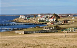 Preview wallpaper Falkland Islands, houses, pier, sea, UK