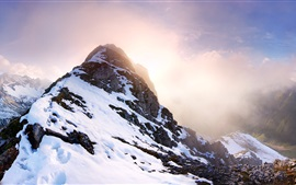 Preview wallpaper Falschkogel, Tyrol, Austria, mountains, snow, sun