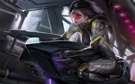 Fantasy art girl, glasses, future motorcycle
