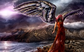Fantasy girl, angel, wings, rocks, mountains, sea, clouds