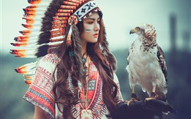 Preview wallpaper Feathers hat girl, eagle, Native American